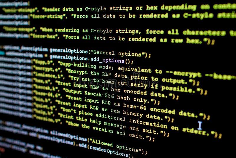 Broncode van Ethereum, cryptocurrency en gedecentraliseerd systeem royalty-vrije stock foto