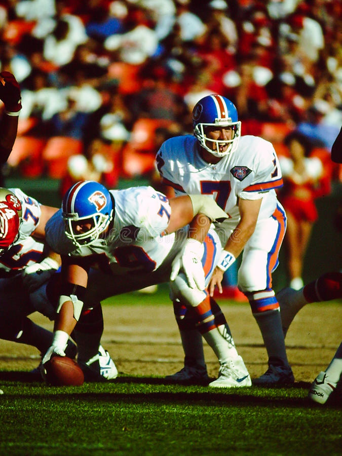 Broncos de John Elway Denver fotos de stock royalty free