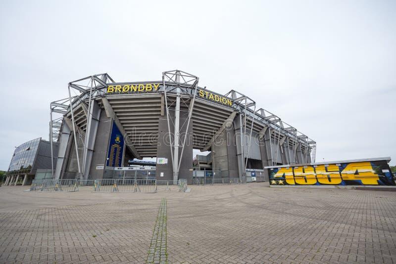 Brondby竞技场外在看法  免版税库存图片