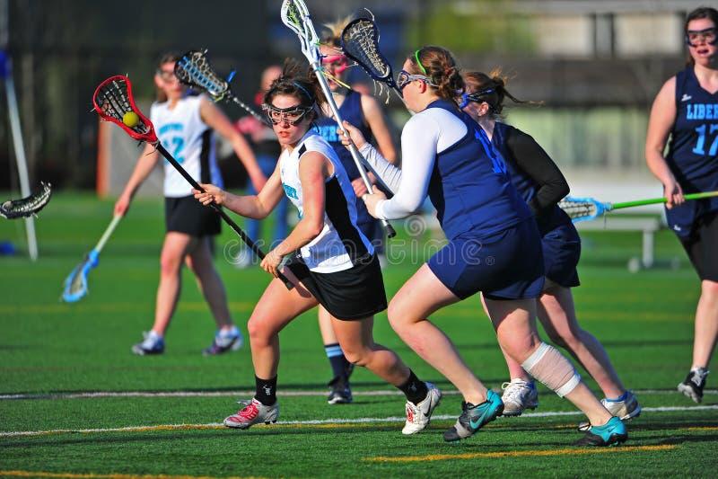 broniący dziewczyn celu lacrosse fotografia royalty free