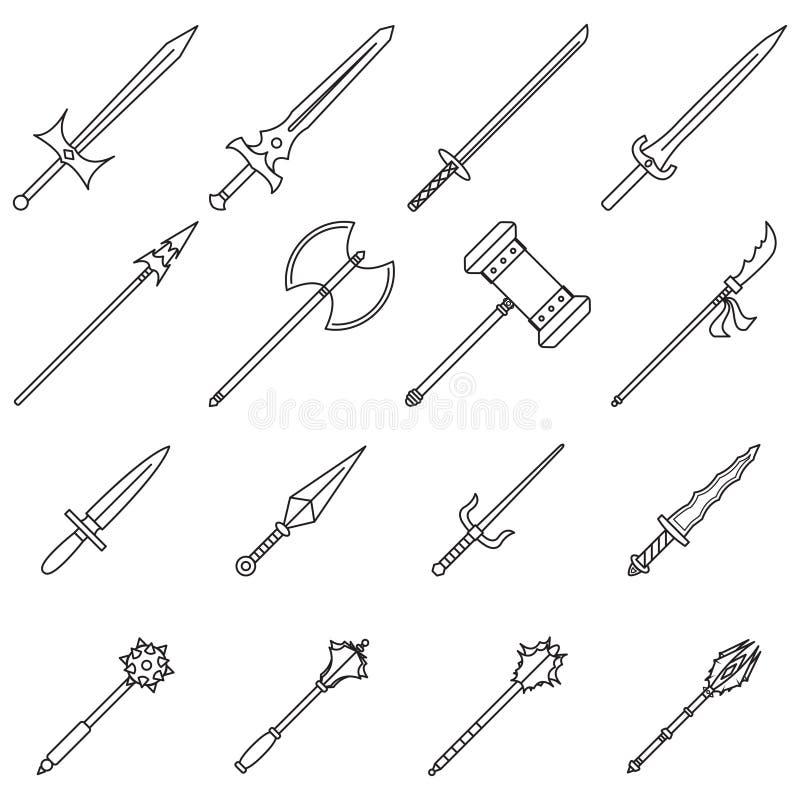 Broni ikon linia ilustracji