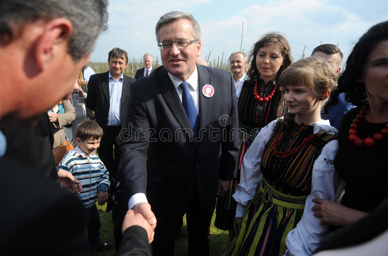 Bronislaw Komorowski presidential campain. KOMOROW, POLAND - MARCH 08, 2015: President of the Republic of Poland Bronislaw Komorowski during presidential stock image