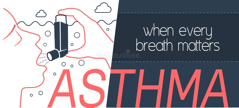 Bronkial astma för baner vektor illustrationer