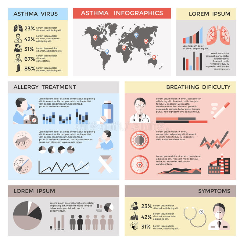 Bronkial astma Infographics vektor illustrationer