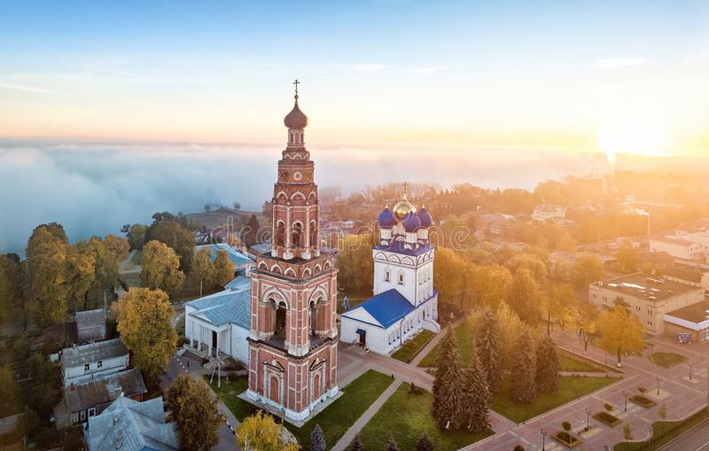 Aerial view of Bronnitsy, Moscow oblast, Russia. Bronnitsy, Moscow oblast, Russia. Aerail view of Bell Tower and Cathedral of the Archangel Michael on sunrise stock photo