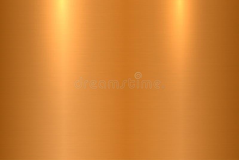 Brons borstad metalltextur Skinande polerad metallisk yttersidabakgrund stock illustrationer