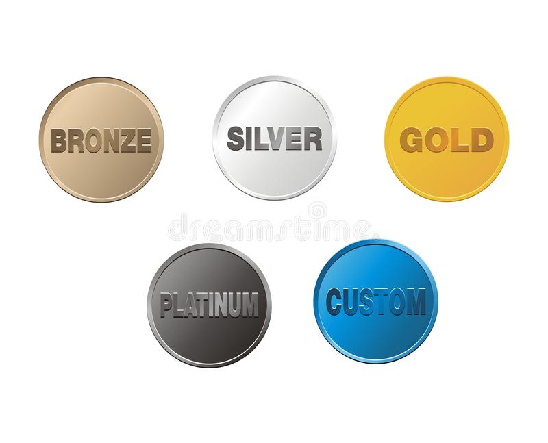 Brons, försilvra, guld, platina, egenmynt stock illustrationer