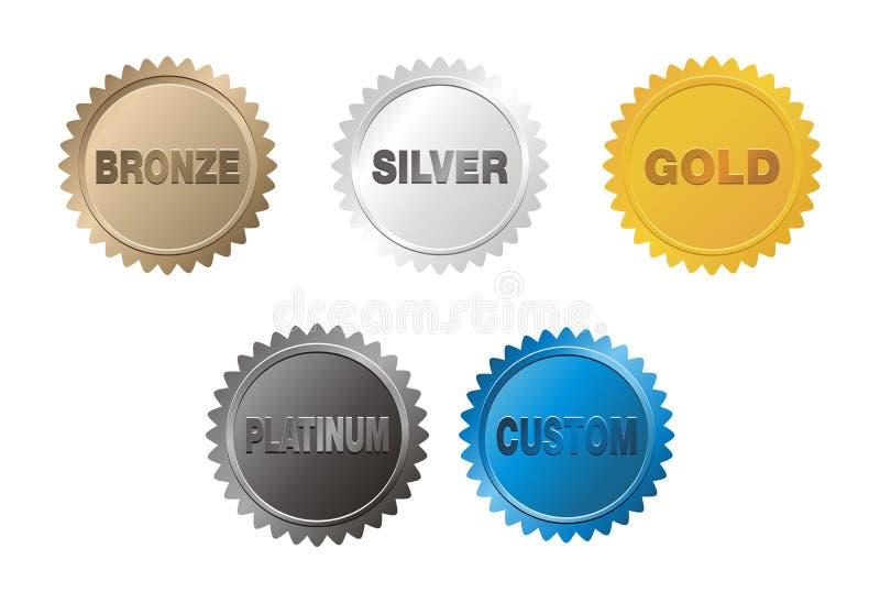 Brons, försilvra, guld, platinaemblem vektor illustrationer
