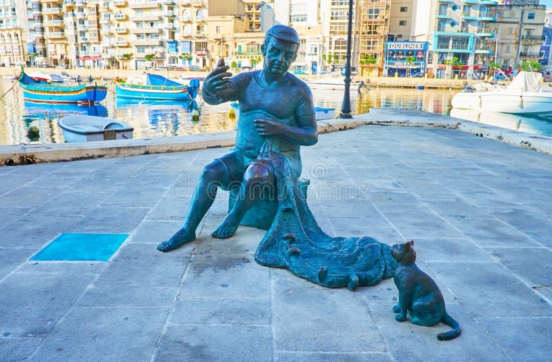 Brons fiskaren och katten, julians St, Malta royaltyfri bild