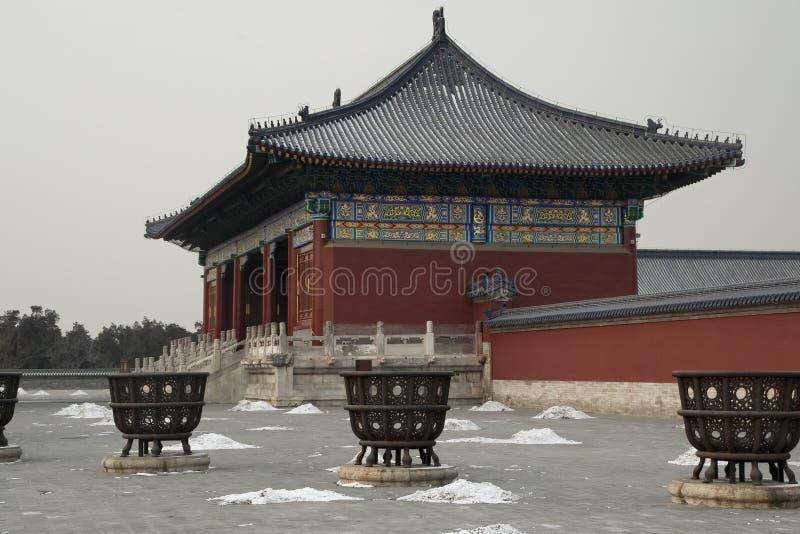 Brons gasbrännare med Hall i bakgrund på templet av himmel royaltyfri bild