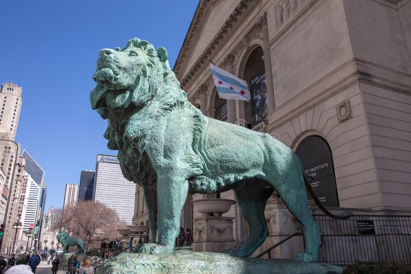 Brons Lion Statue på Art Institute av Chicago royaltyfri foto