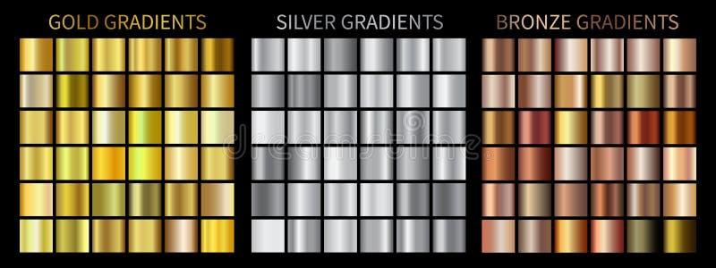 Brons lutningar, guld- silver Samling av den färgrika lutningen för vektor royaltyfri illustrationer