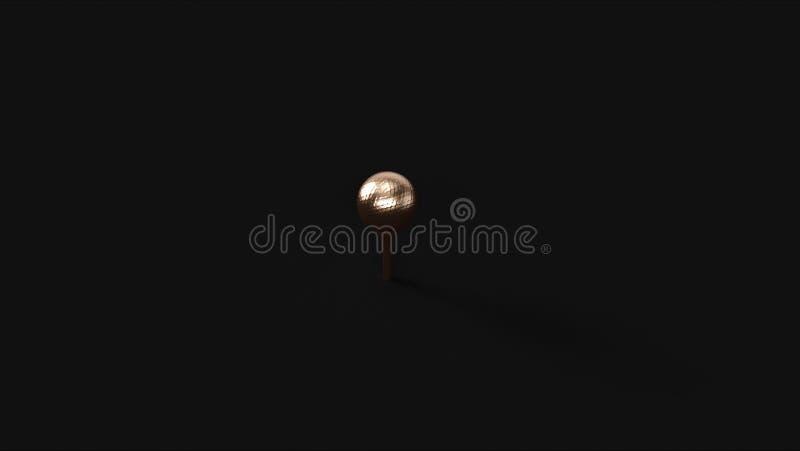 Brons mässingsgolfboll royaltyfri illustrationer