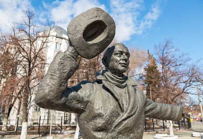 Brons monumentet av Yuriy Detochkin, huvudrollsinnehavaren av Sovien royaltyfria bilder