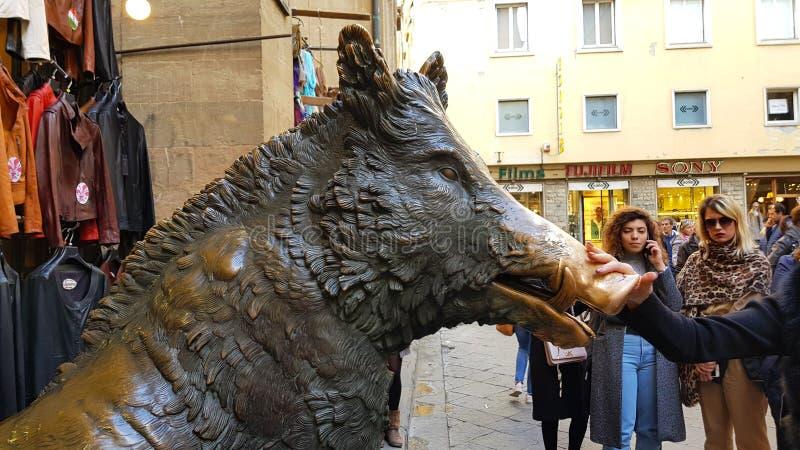 Brons springbrunnen av en galt i Mercatoen Nuovo, Florence, Tuscany, royaltyfri foto