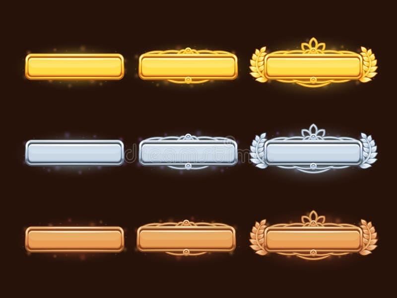 Brons, zilveren en gouden van de beeldverhaal vectortitel banners vector illustratie