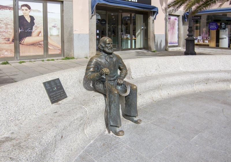 Bronsbeeldhouwwerk van Giuseppe Garibaldi in La Maddalena royalty-vrije stock fotografie