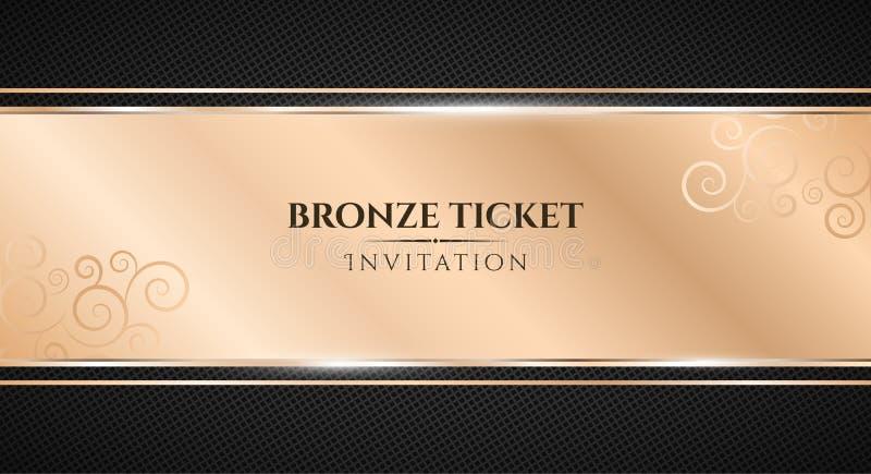 Bronsbiljett Lyxig inbjudan Brons bandbanret på en svart bakgrund med en modell av ingreppet Realistisk bronsremsaintelligens stock illustrationer