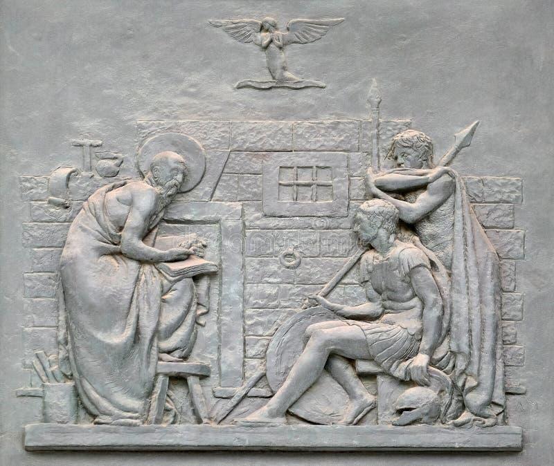Bronsdeur met het beeld van het leven van St Paul: De omzetting van Centurion royalty-vrije stock foto's
