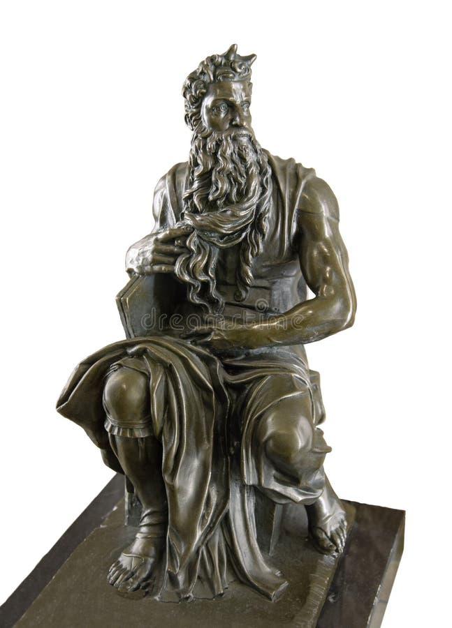 Bronskopieringsskulptur av Moses av Michelangelo arkivfoto