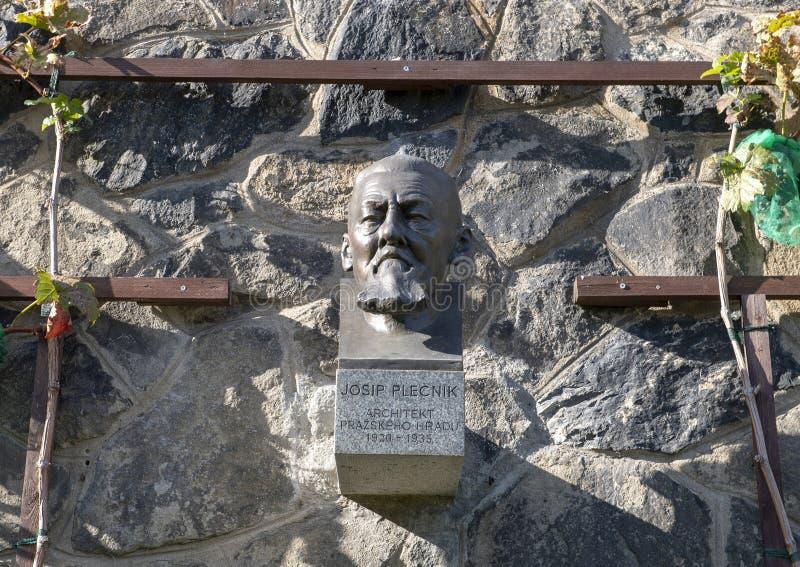Bronsmislukking van Josip Plecnik in de Borstweringtuin, het Kasteel van Praag, Tsjechische Republiek royalty-vrije stock foto's