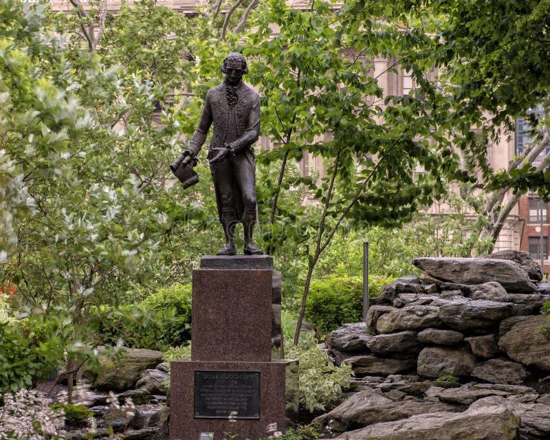 Bronsstandbeeld Don Diego de Gardoqui, Zuster Cities Park, Benjamin Franklin Parkway, Philadelphia, Pennsylvania royalty-vrije stock foto's