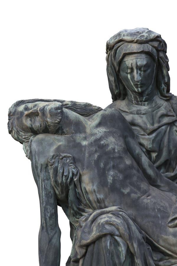 Bronsstandbeeld van Maagdelijke Mary die het lichaam van Jesus Christ houden royalty-vrije stock afbeeldingen