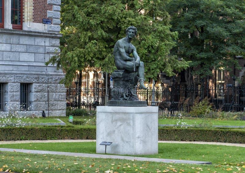 Bronsstandbeeld van Mercury, Rijksmuseum, Amsterdam, Nederland royalty-vrije stock afbeelding
