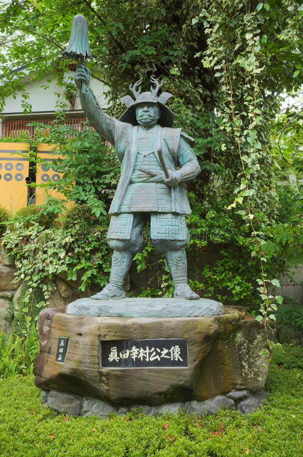Bronsstandbeeld van Yukimura Sanada in Osaka stock afbeeldingen