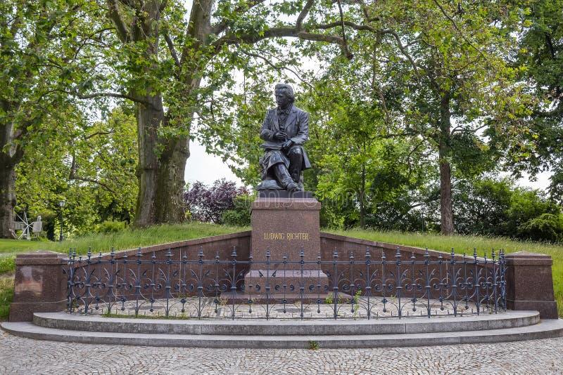 Bronsstaty av Ludwig Richter royaltyfri foto