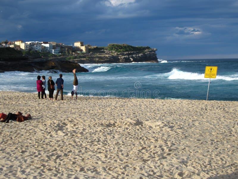 Bronte海滩悉尼澳大利亚在冬天 免版税库存照片