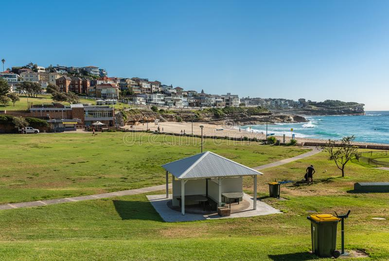 Bronte Park and Beach with view of North Shore, Sydney Australia stock image