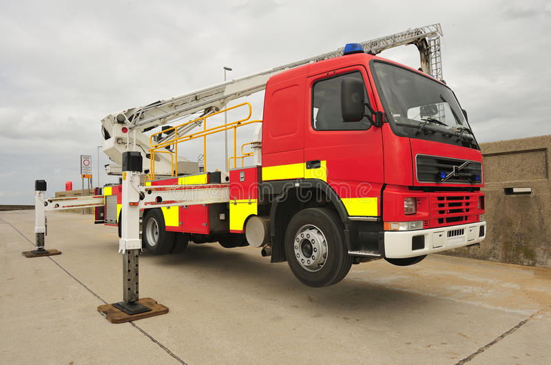 Bronto skylift rescue truck. A Bronto skylift fire truck, in use, at an excercise. This is one of Lancashire fire and rescue service vehicles, and consists of an stock photos