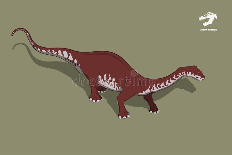 Brontosauro del dinosauro nello stile isometrico Immagine isolata del mostro giurassico Icona di Dino 3d del fumetto royalty illustrazione gratis