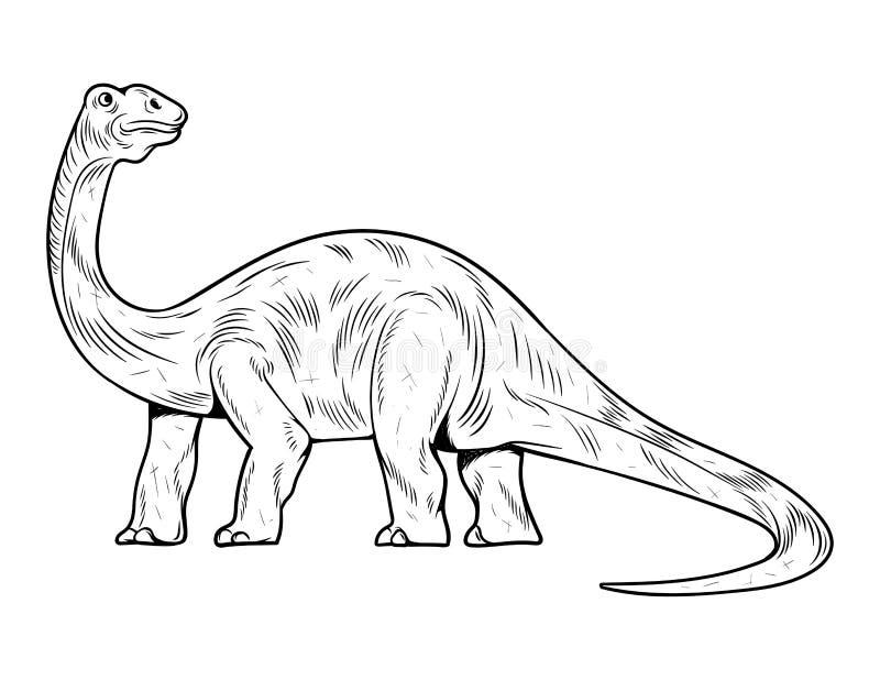 Brontosauro el más alto dinosaurio dino ilustración del vector