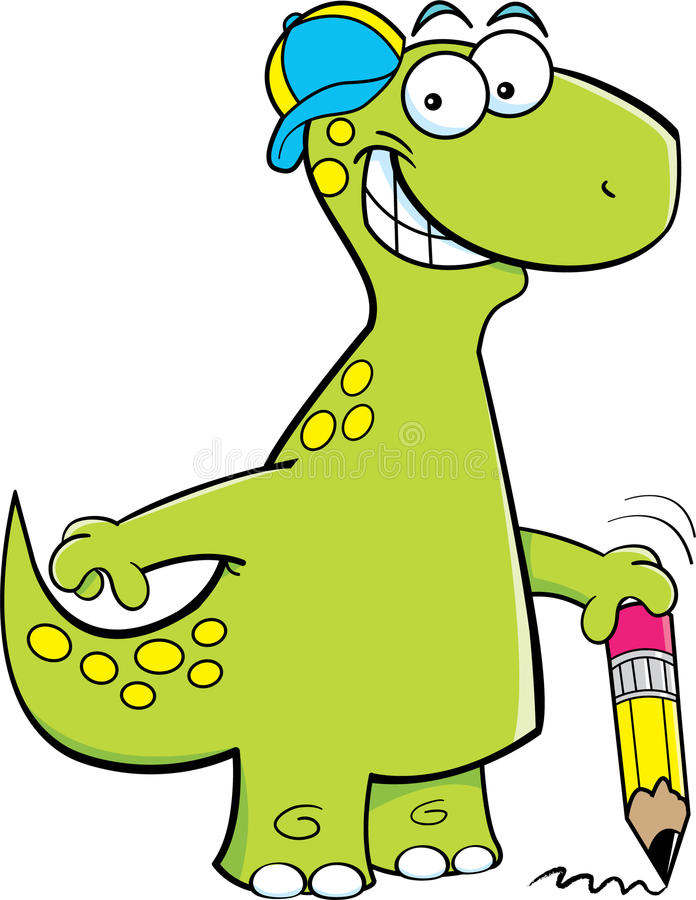 Download Brontosaurus Holding A Pencil Stock Photography - Image: 26573272