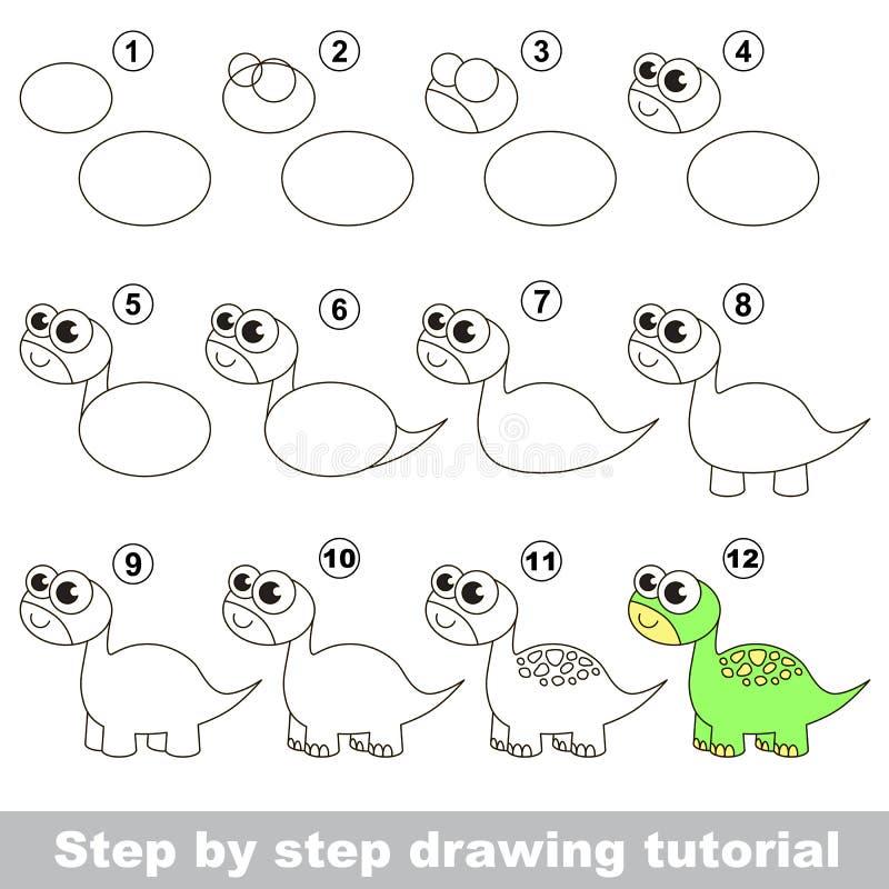 brontosaurus Tutorial del dibujo libre illustration