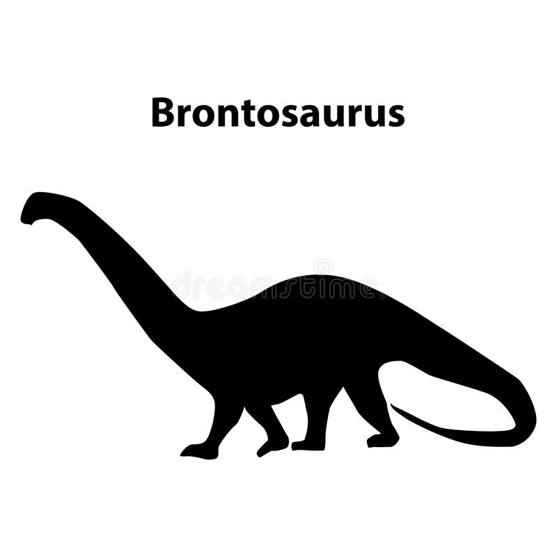Brontosaurusdinosauriekontur royaltyfri illustrationer