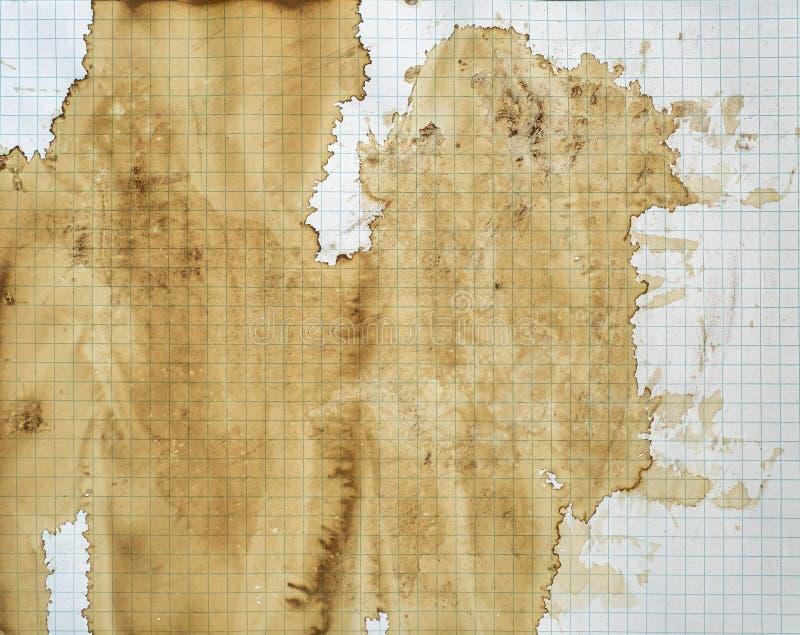Bronw Stain sobre papel de gráfico blanco fotos de archivo