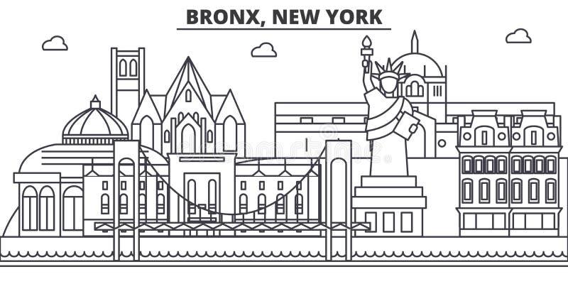 Bronx, linha ilustração da arquitetura de New York da skyline Arquitetura da cidade linear com marcos famosos, vistas do vetor da ilustração do vetor