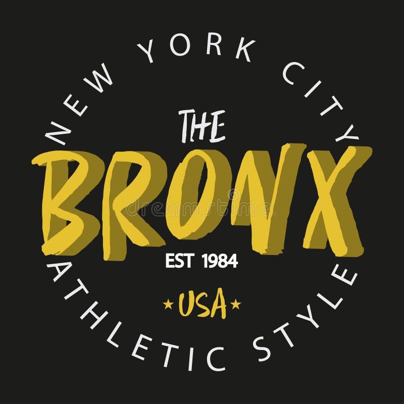 bronx New York De atletische typografie van de stijlkleding stock illustratie