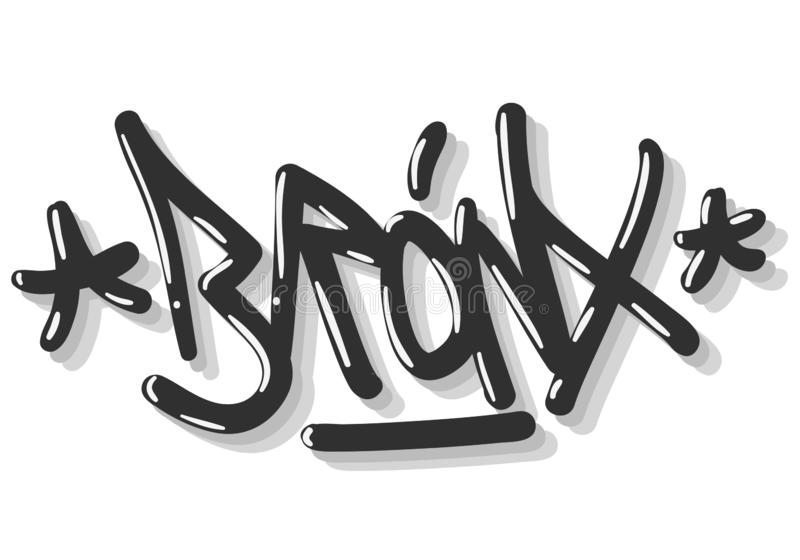 Bronx New York Etats-Unis que Hip Hop a rapporté le graffiti d'étiquette a influencé le signe Logo Hand Drawn Lettering de label  illustration libre de droits