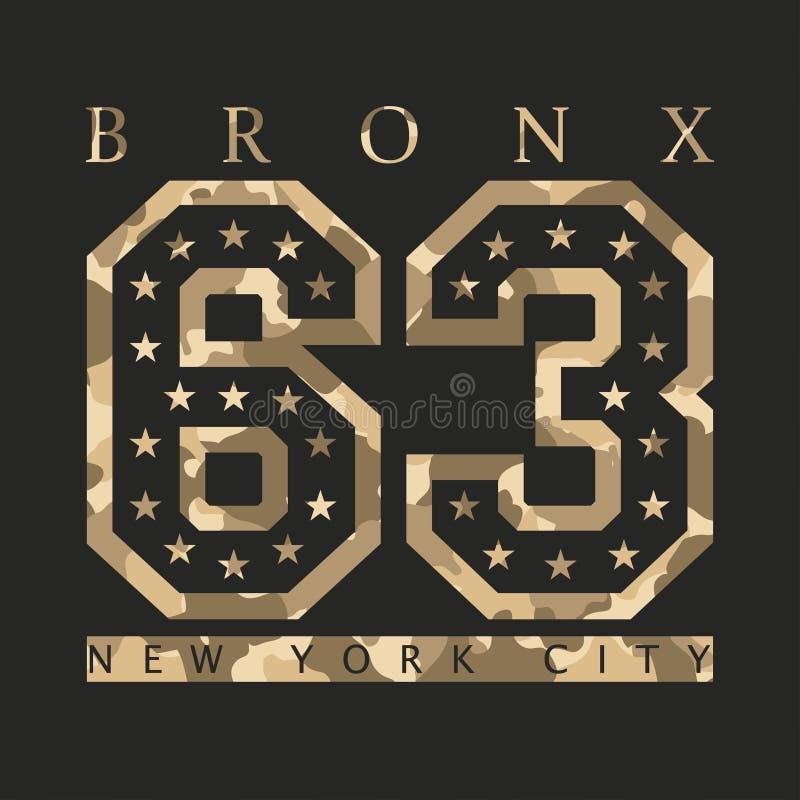 Bronx, Nowy Jork Projekt odziewa z kamuflażem, koszulki sporty ilustracja wektor