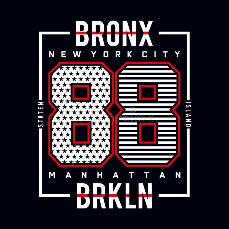Bronx staten la camiseta de la tipografía de la isla stock de ilustración