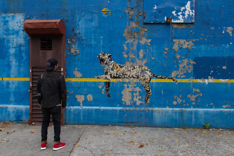 Bronxite bewundert eine Bansky gemalte Wand im Bronx lizenzfreies stockbild