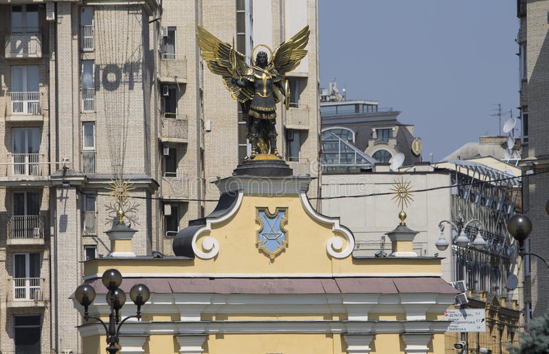 Bronze angel with wings on the roof. Kiev. Monument Angel with wings on the roof of the church. Kiev. Winter 2015 royalty free stock photos
