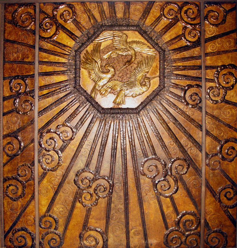 Bronze art deco wall. Taken out of a lift royalty free stock images