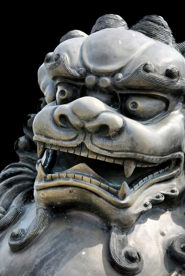 Download Bronze Asian Lion stock photo. Image of japan, roaring - 8427132