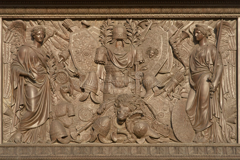 Bronze bas-relief with figures royalty free stock photo
