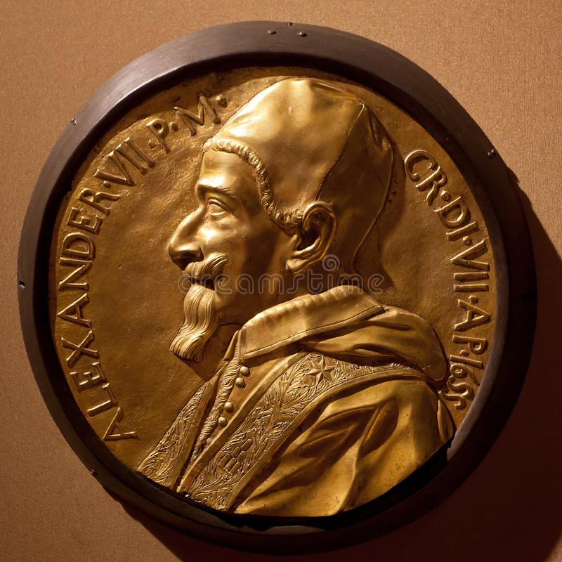 Bronze bas relief Pope Alexander VII, Duomo, Siena, Italy stock photo